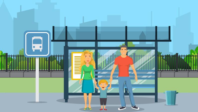 Busstoppested uden for storbyen